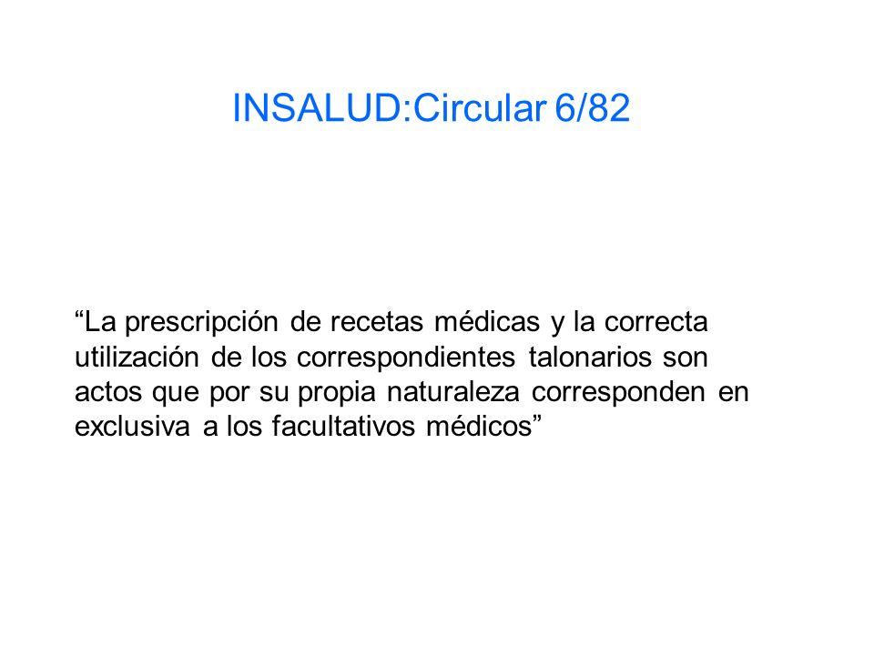 INSALUD:Circular 6/82 La prescripción de recetas médicas y la correcta utilización de los correspondientes talonarios son actos que por su propia natu