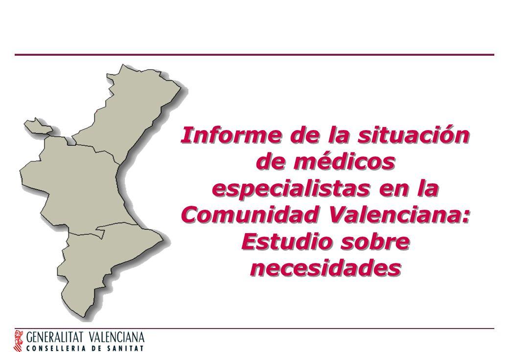 Informe de la situación de médicos especialistas en la Comunidad Valenciana: Estudio sobre necesidades