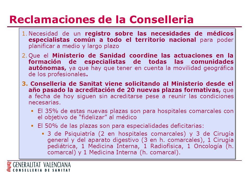 Reclamaciones de la Conselleria 1.Necesidad de un registro sobre las necesidades de médicos especialistas común a todo el territorio nacional para pod