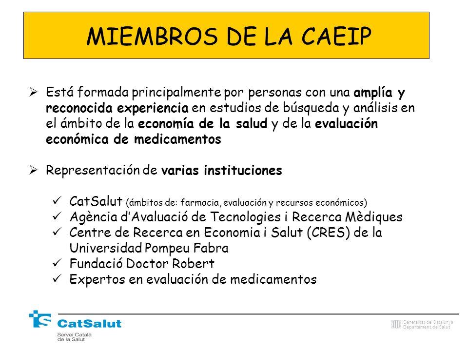 Generalitat de Catalunya Departament de Salut MIEMBROS DE LA CAEIP Está formada principalmente por personas con una amplía y reconocida experiencia en