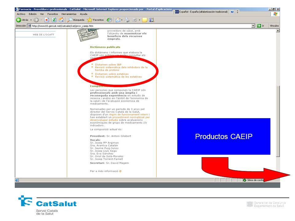 Generalitat de Catalunya Departament de Salut Productos CAEIP