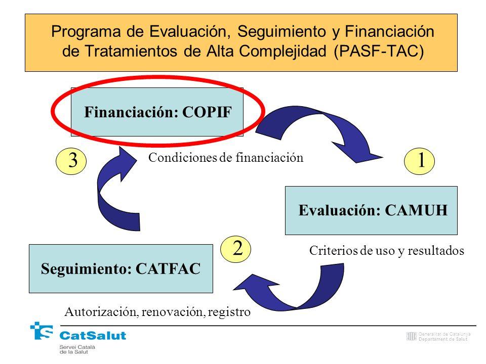 Generalitat de Catalunya Departament de Salut Programa de Evaluación, Seguimiento y Financiación de Tratamientos de Alta Complejidad (PASF-TAC) Financ
