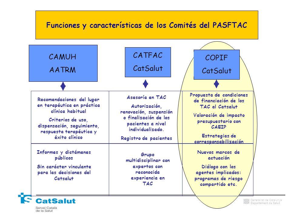 Generalitat de Catalunya Departament de Salut Funciones y características de los Comités del PASFTAC CAMUH AATRM Recomendaciones del lugar en terapéut