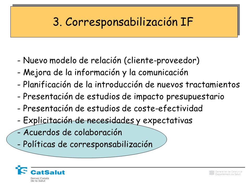 Generalitat de Catalunya Departament de Salut - Nuevo modelo de relación (cliente-proveedor) - Mejora de la información y la comunicación - Planificac