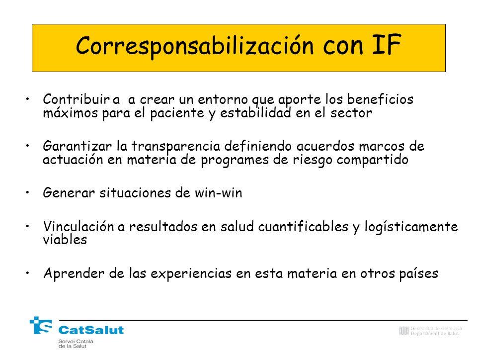 Generalitat de Catalunya Departament de Salut Corresponsabilización con IF Contribuir a a crear un entorno que aporte los beneficios máximos para el p
