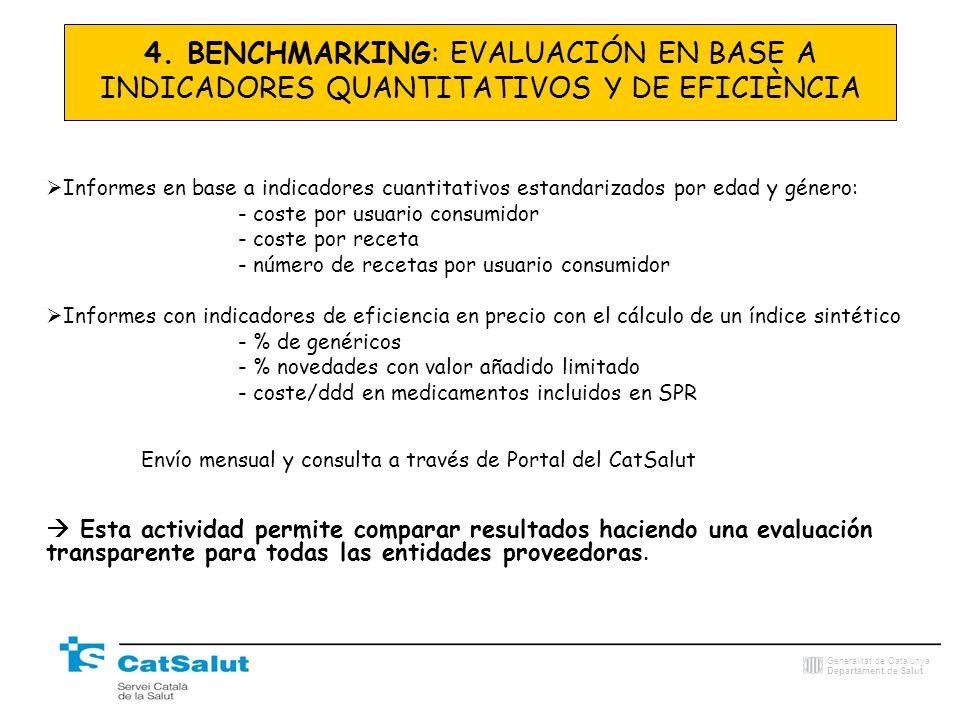 Generalitat de Catalunya Departament de Salut Informes en base a indicadores cuantitativos estandarizados por edad y género: - coste por usuario consu