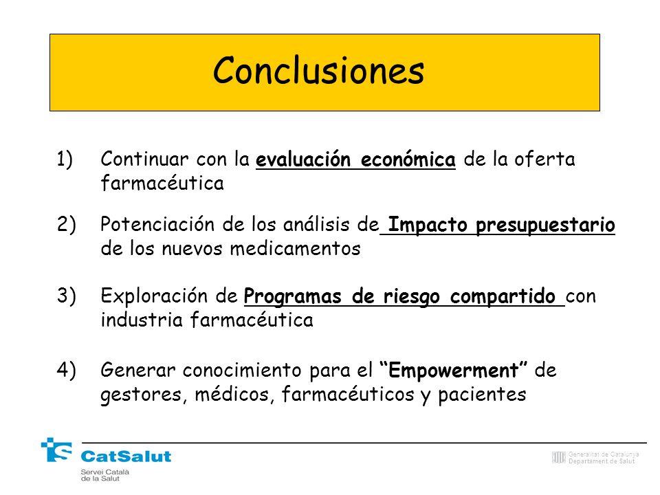 Generalitat de Catalunya Departament de Salut Conclusiones 1)Continuar con la evaluación económica de la oferta farmacéutica 2)Potenciación de los aná