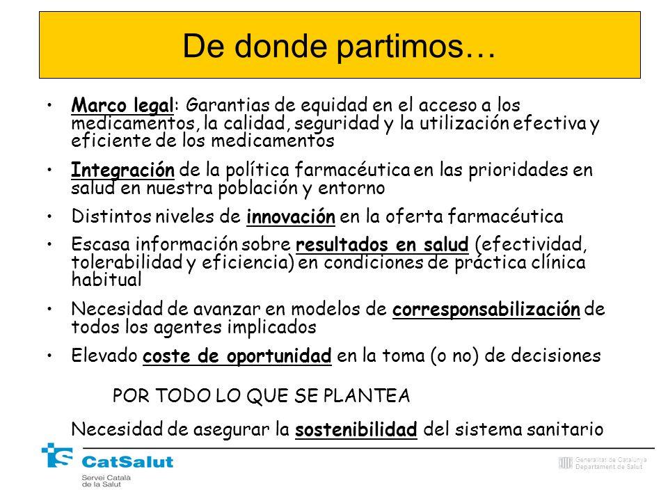 Generalitat de Catalunya Departament de Salut De donde partimos… Marco legal: Garantias de equidad en el acceso a los medicamentos, la calidad, seguri