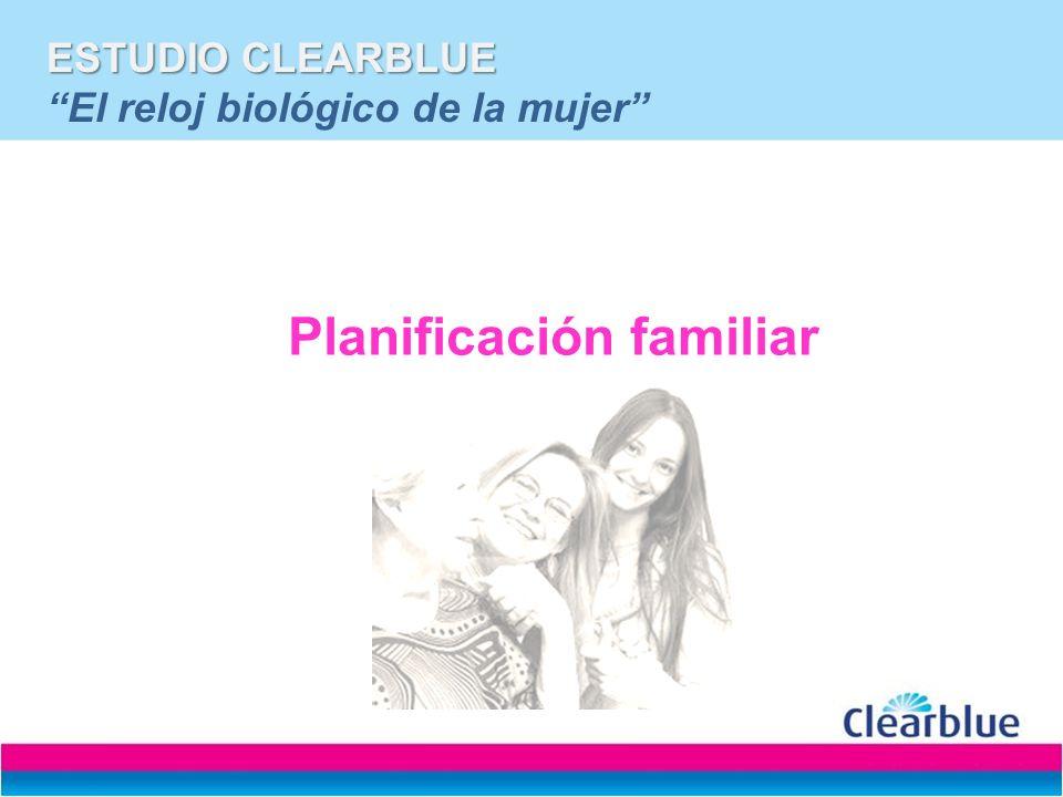 ESTUDIO CLEARBLUE ESTUDIO CLEARBLUE El reloj biológico de la mujer Planificación familiar