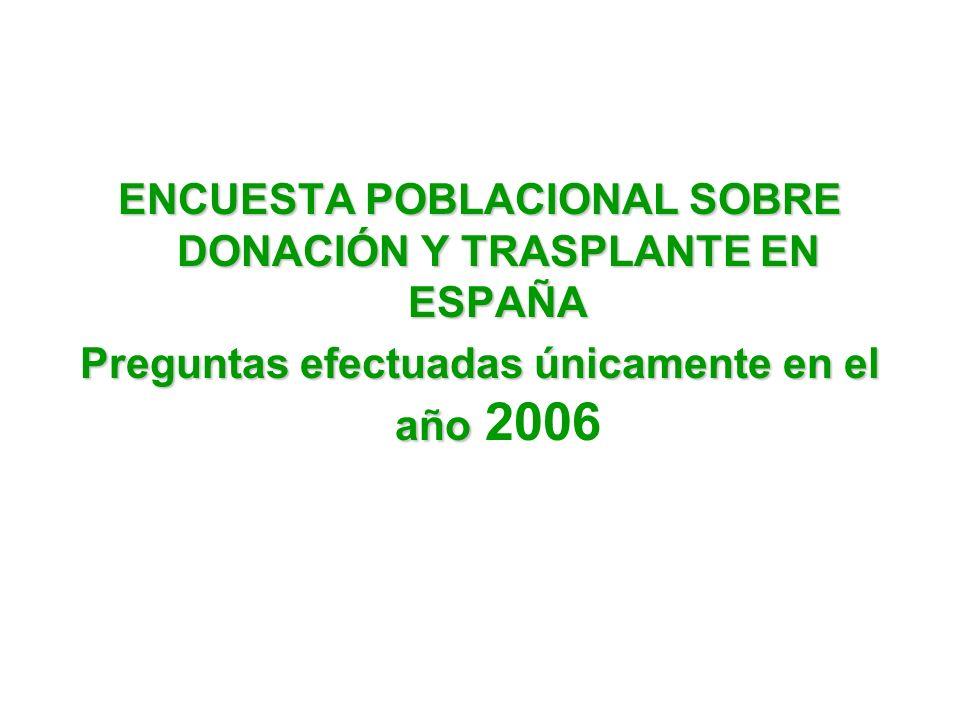 ENCUESTA POBLACIONAL SOBRE DONACIÓN Y TRASPLANTE EN ESPAÑA Preguntas efectuadas únicamente en el año Preguntas efectuadas únicamente en el año 2006