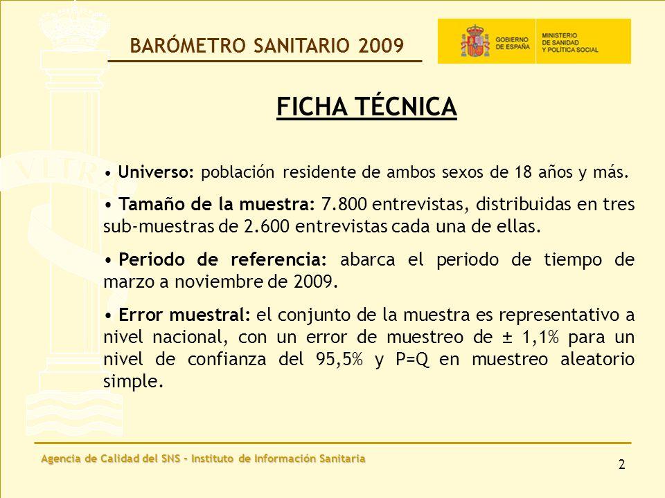 Agencia de Calidad del SNS - Instituto de Información Sanitaria 13 Motivo principal por el que, personalmente, decidió ir al servicio de urgencias de un hospital BARÓMETRO SANITARIO 2009