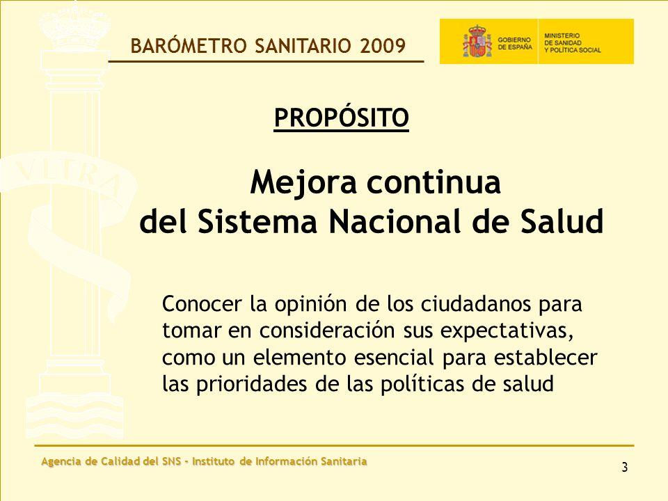 Agencia de Calidad del SNS - Instituto de Información Sanitaria 24 BARÓMETRO SANITARIO 2009 BARÓMETRO SANITARIO 2009 Ministerio de Sanidad y Política Social www.msps.es