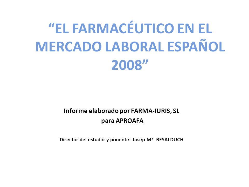 EL FARMACÉUTICO EN EL MERCADO LABORAL ESPAÑOL 2008 Informe elaborado por FARMA-IURIS, SL para APROAFA Director del estudio y ponente: Josep Mª BESALDUCH