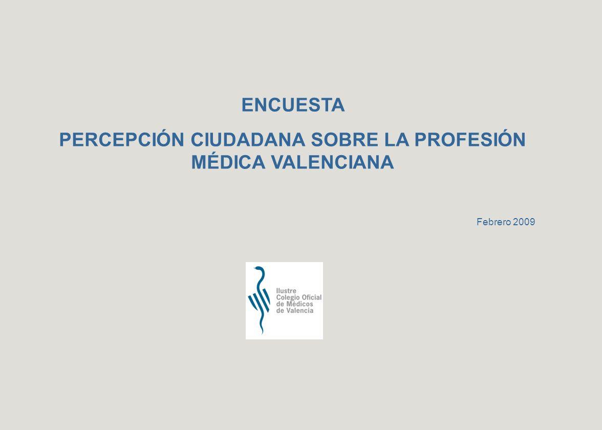 ENCUESTA PERCEPCIÓN CIUDADANA SOBRE LA PROFESIÓN MÉDICA VALENCIANA Febrero 2009