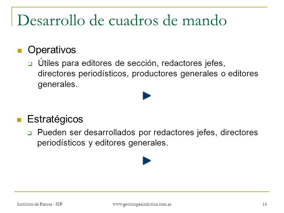 Instituto de Prensa - SIP www.gestionperiodistica.com.ar 16 Desarrollo de cuadros de mando Operativos Útiles para editores de sección, redactores jefes, directores periodísticos, productores generales o editores generales.