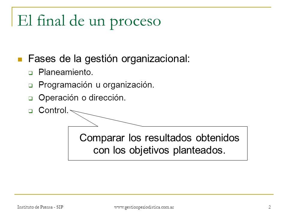 Instituto de Prensa - SIP www.gestionperiodistica.com.ar 3 Para qué controlar Todos hacemos gestión, aunque sea intuitiva, y controlamos el rumbo, aunque no usemos indicadores.