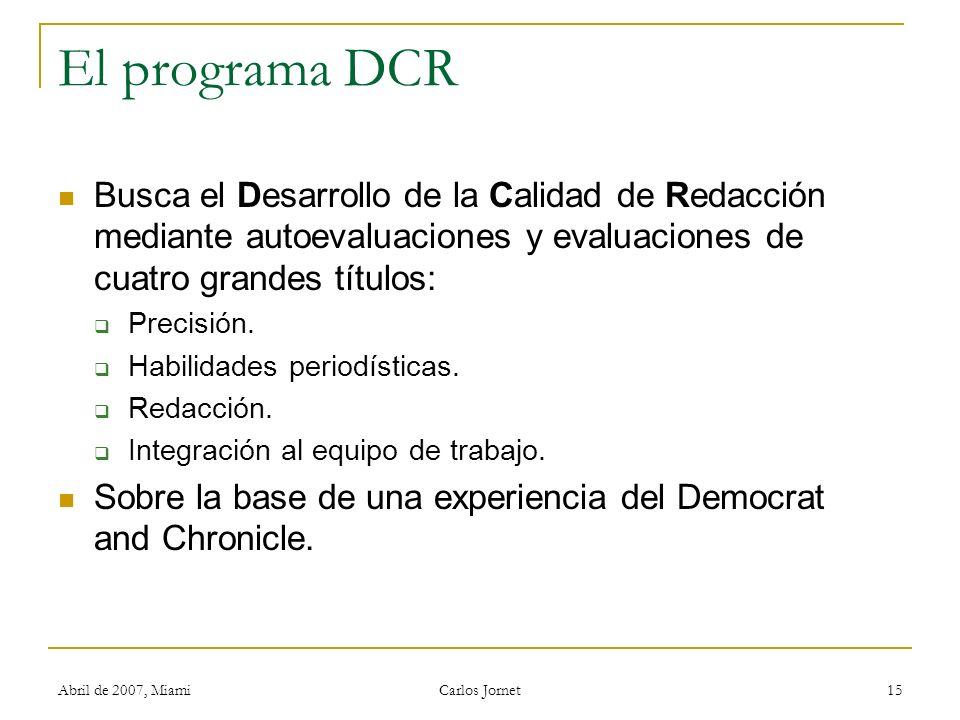 Abril de 2007, Miami Carlos Jornet 15 El programa DCR Busca el Desarrollo de la Calidad de Redacción mediante autoevaluaciones y evaluaciones de cuatro grandes títulos: Precisión.