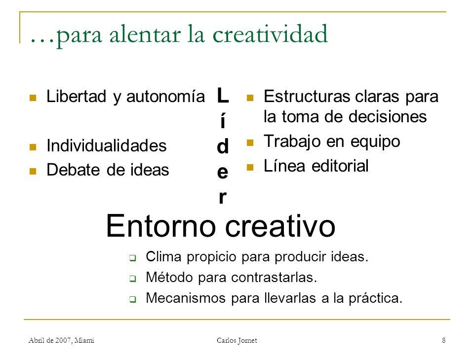 Abril de 2007, Miami Carlos Jornet 8 …para alentar la creatividad Libertad y autonomía Individualidades Debate de ideas Estructuras claras para la toma de decisiones Trabajo en equipo Línea editorial LíderLíder Entorno creativo Clima propicio para producir ideas.