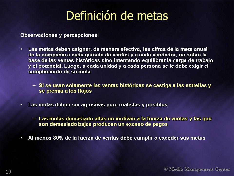© Media Management Center 10 Definición de metas Observaciones y percepciones: Las metas deben asignar, de manera efectiva, las cifras de la meta anua