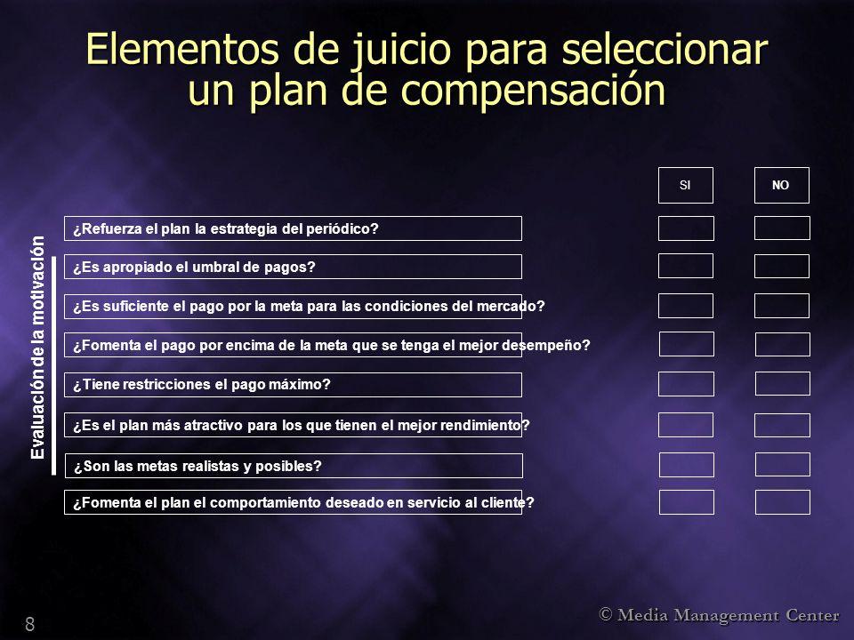 © Media Management Center 8 Elementos de juicio para seleccionar un plan de compensación ¿Refuerza el plan la estrategia del periódico? ¿Es suficiente