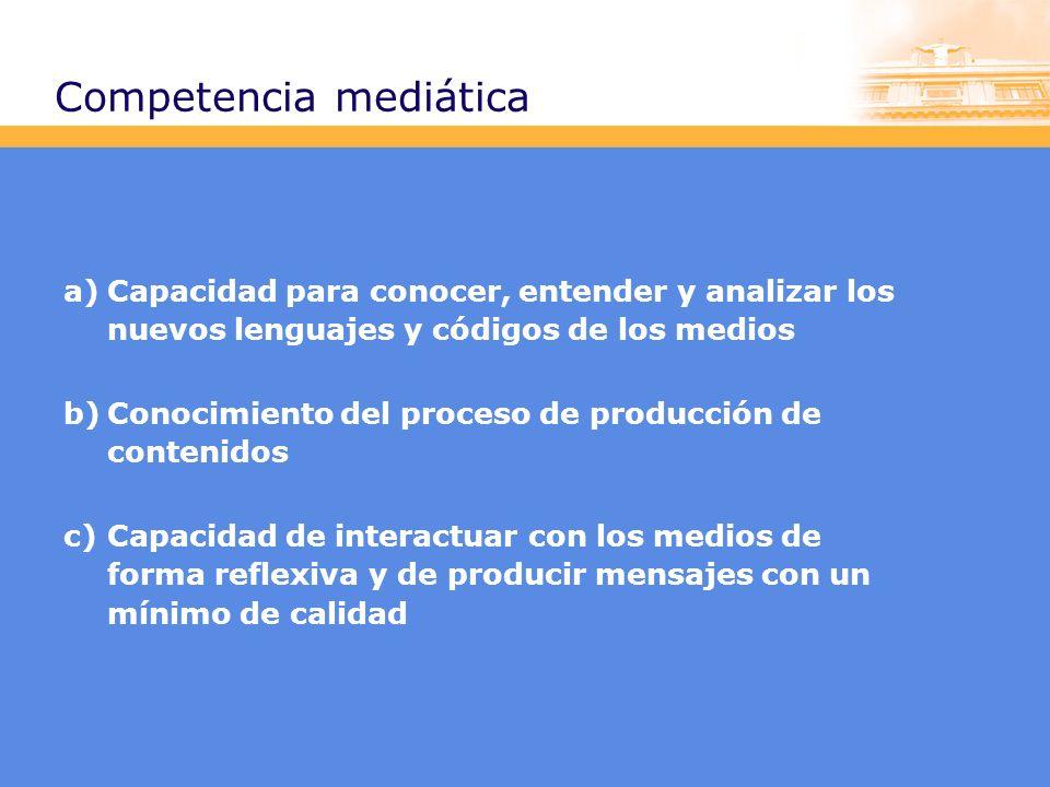 Competencia mediática a)Capacidad para conocer, entender y analizar los nuevos lenguajes y códigos de los medios b)Conocimiento del proceso de producción de contenidos c)Capacidad de interactuar con los medios de forma reflexiva y de producir mensajes con un mínimo de calidad