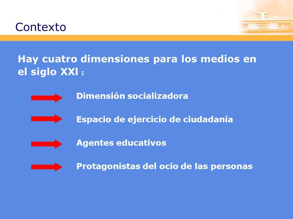 Contexto Hay cuatro dimensiones para los medios en el siglo XXl : Dimensión socializadora Espacio de ejercicio de ciudadanía Agentes educativos Protagonistas del ocio de las personas
