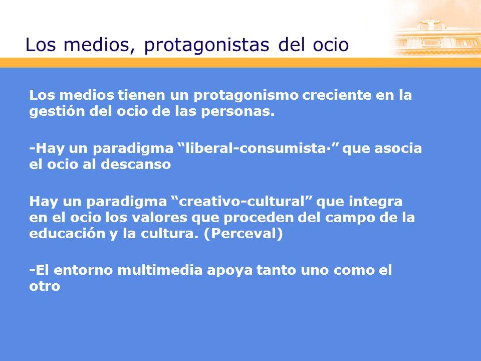 Los medios, protagonistas del ocio Los medios tienen un protagonismo creciente en la gestión del ocio de las personas.