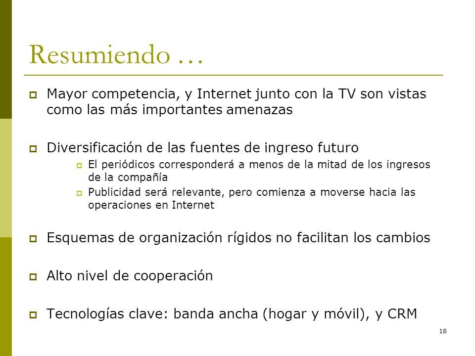 18 Resumiendo … Mayor competencia, y Internet junto con la TV son vistas como las más importantes amenazas Diversificación de las fuentes de ingreso f