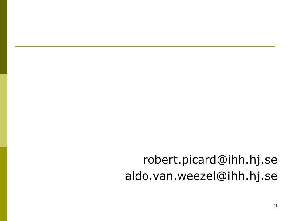 21 robert.picard@ihh.hj.se aldo.van.weezel@ihh.hj.se