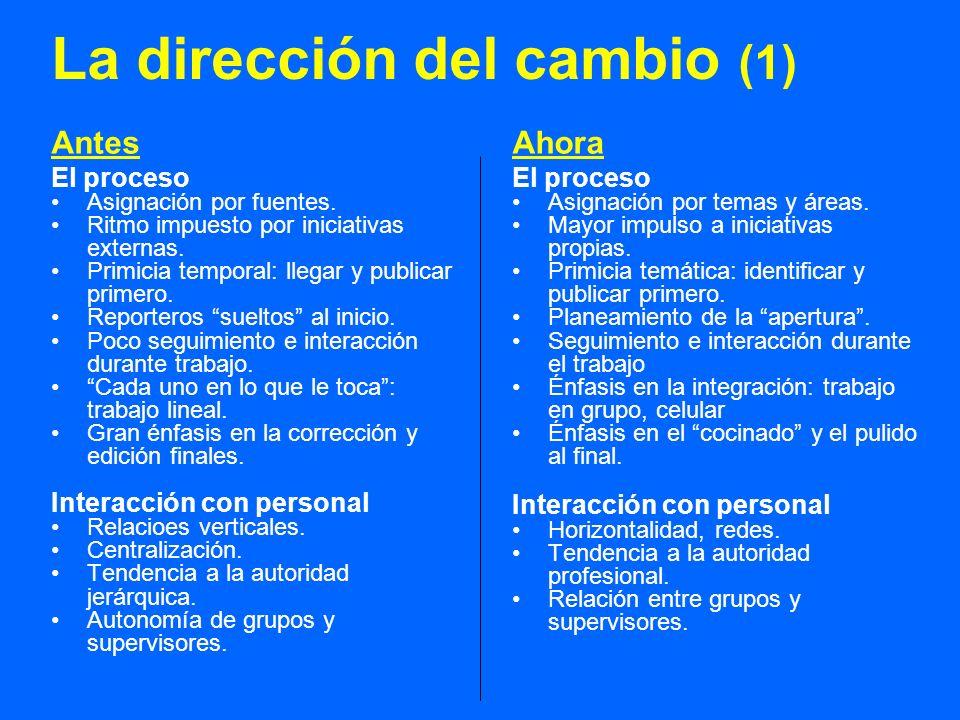 La dirección del cambio (1) Antes El proceso Asignación por fuentes.