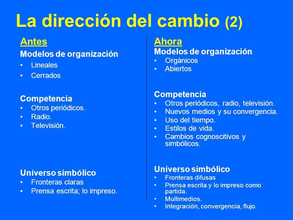 La dirección del cambio (2) Antes Modelos de organización Lineales Cerrados Competencia Otros periódicos. Radio. Televisión. Universo simbólico Fronte