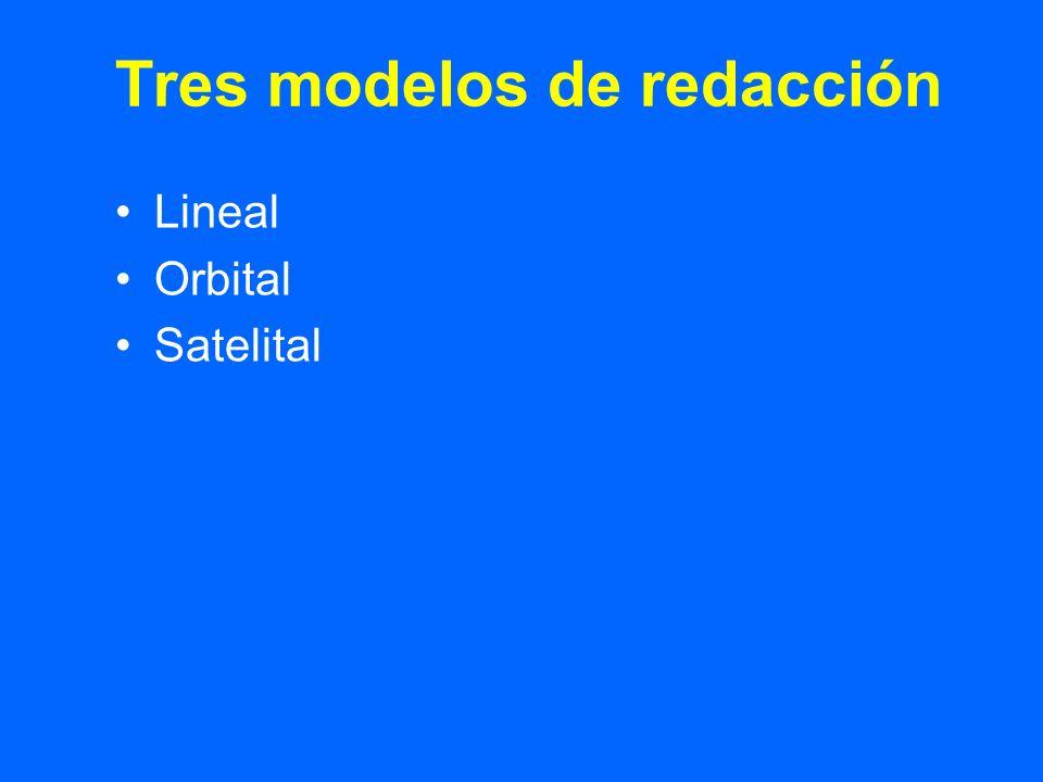 Tres modelos de redacción Lineal Orbital Satelital