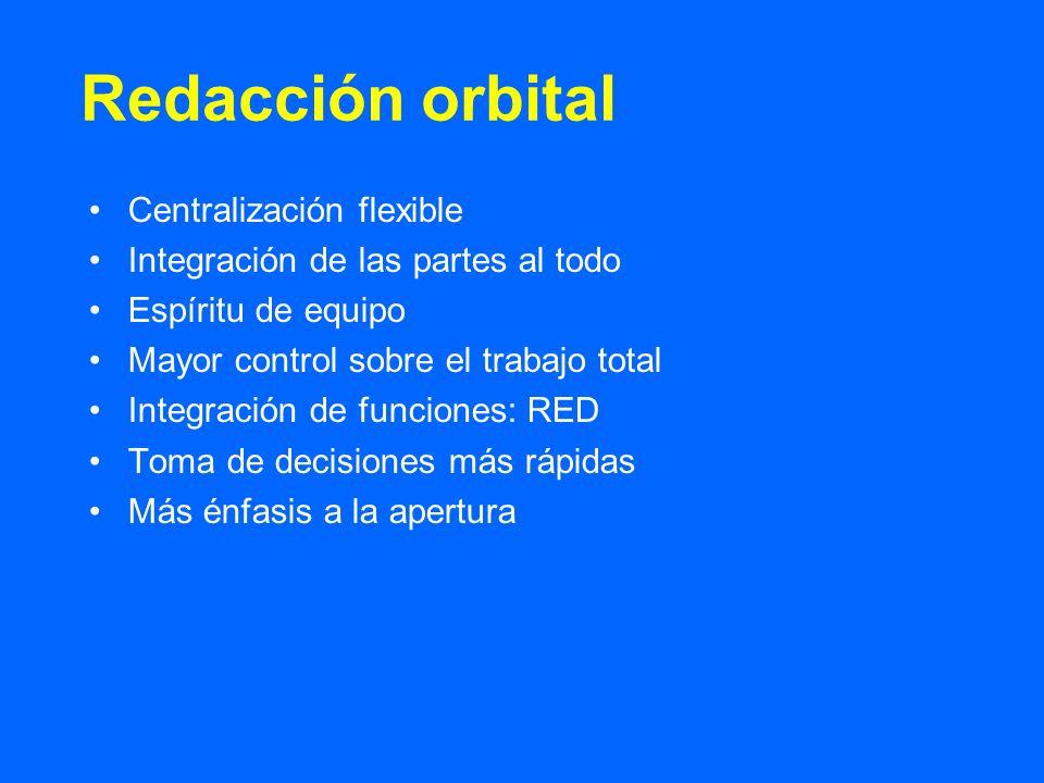 Centralización flexible Integración de las partes al todo Espíritu de equipo Mayor control sobre el trabajo total Integración de funciones: RED Toma d