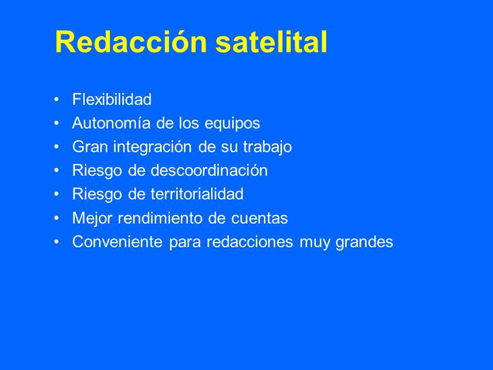 Flexibilidad Autonomía de los equipos Gran integración de su trabajo Riesgo de descoordinación Riesgo de territorialidad Mejor rendimiento de cuentas