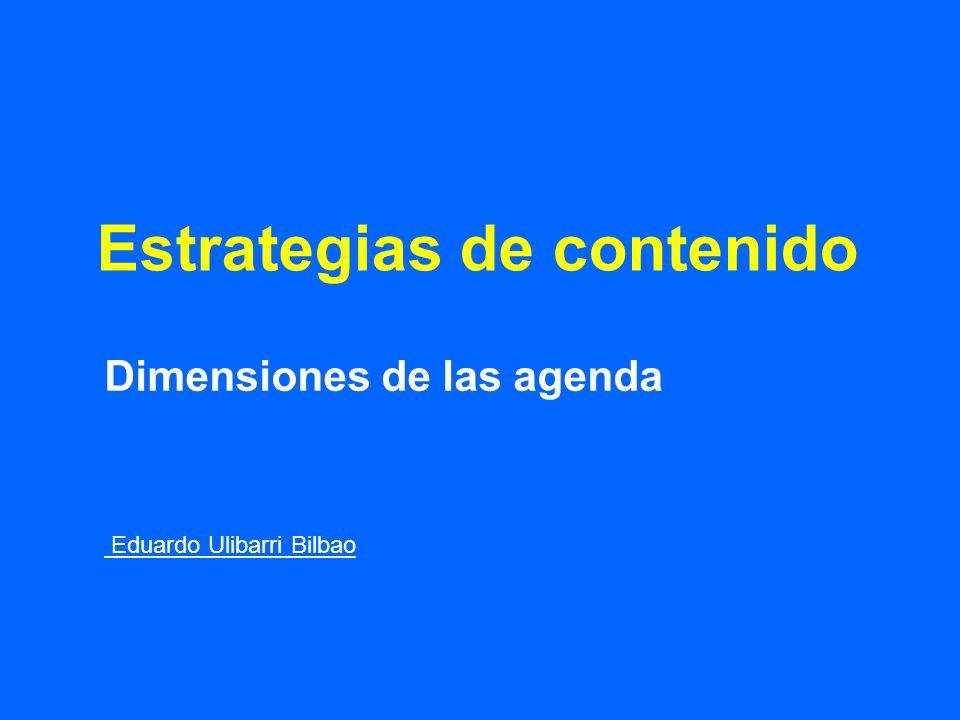 Estrategias de contenido Dimensiones de las agenda Eduardo Ulibarri Bilbao