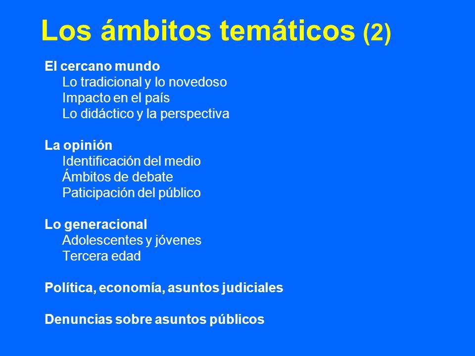 Los ámbitos temáticos (2) El cercano mundo Lo tradicional y lo novedoso Impacto en el país Lo didáctico y la perspectiva La opinión Identificación del