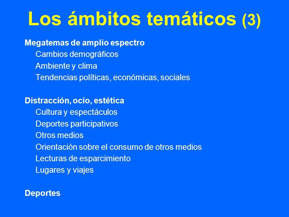Los ámbitos temáticos (3) Megatemas de amplio espectro Cambios demográficos Ambiente y clima Tendencias políticas, económicas, sociales Distracción, o