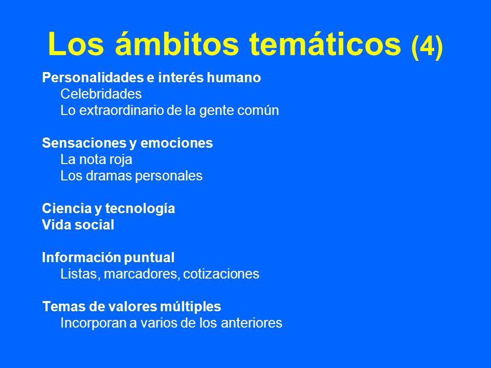 Los ámbitos temáticos (4) Personalidades e interés humano Celebridades Lo extraordinario de la gente común Sensaciones y emociones La nota roja Los dr
