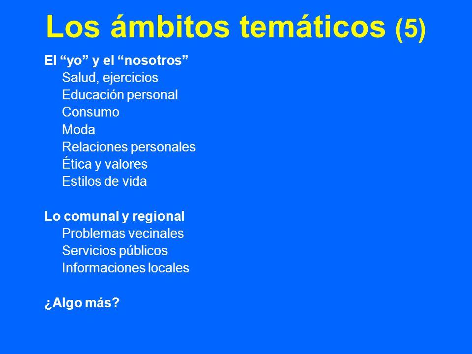 Los ámbitos temáticos (5) El yo y el nosotros Salud, ejercicios Educación personal Consumo Moda Relaciones personales Ética y valores Estilos de vida Lo comunal y regional Problemas vecinales Servicios públicos Informaciones locales ¿Algo más