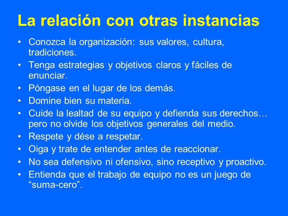 La relación con otras instancias Conozca la organización: sus valores, cultura, tradiciones. Tenga estrategias y objetivos claros y fáciles de enuncia