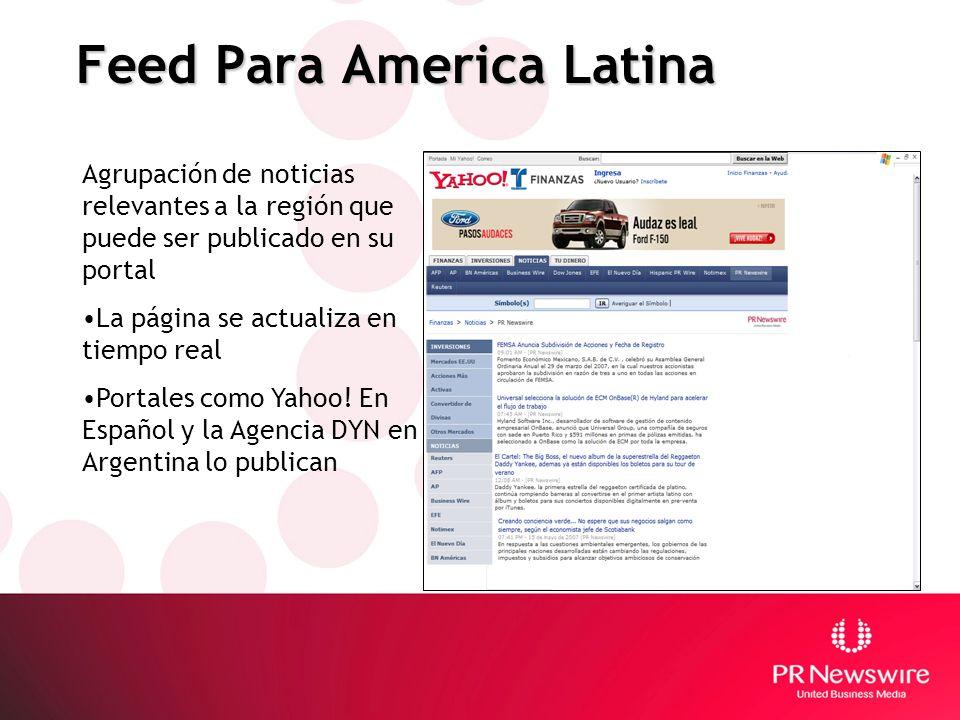 Feed Para America Latina Agrupación de noticias relevantes a la región que puede ser publicado en su portal La página se actualiza en tiempo real Port