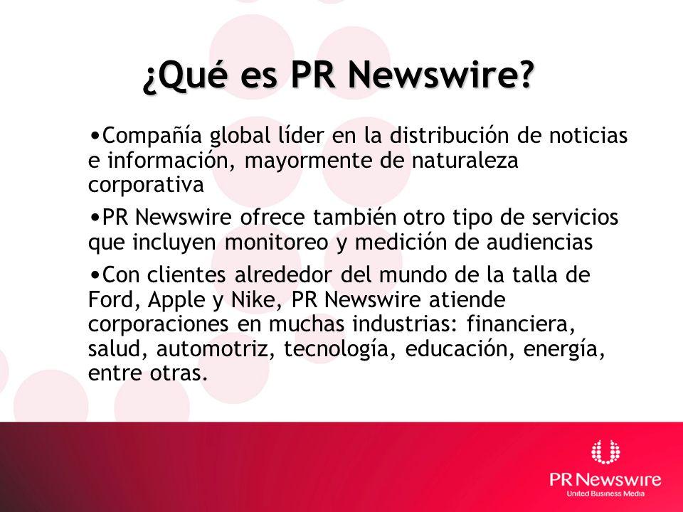 ¿Qué es PR Newswire? Compañía global líder en la distribución de noticias e información, mayormente de naturaleza corporativa PR Newswire ofrece tambi