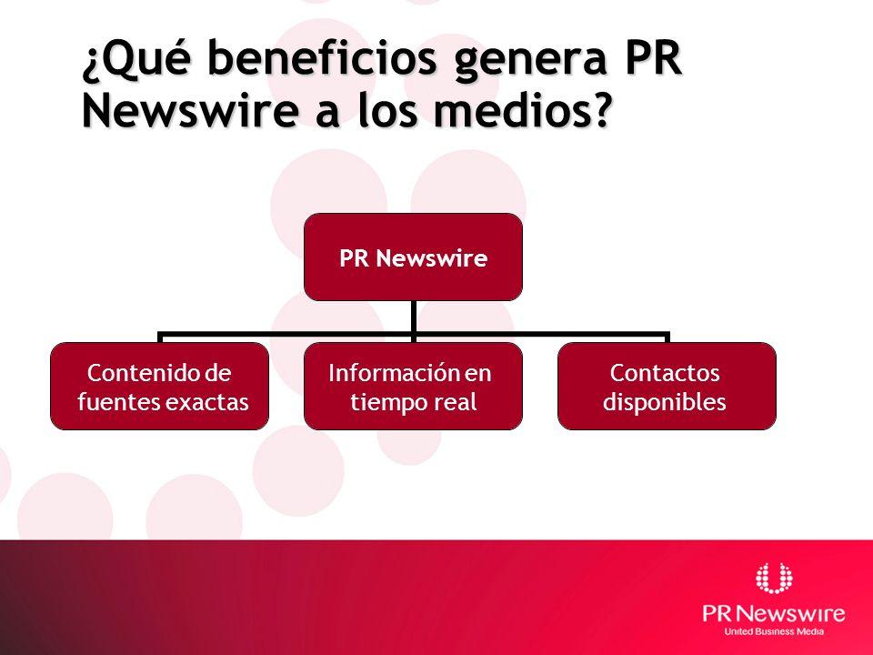 ¿Qué beneficios genera PR Newswire a los medios? PR Newswire Contenido de fuentes exactas Información en tiempo real Contactos disponibles
