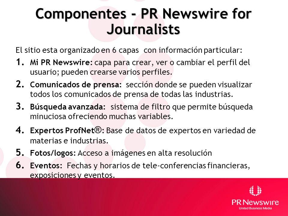 Componentes - PR Newswire for Journalists El sitio esta organizado en 6 capas con información particular: 1. Mi PR Newswire: capa para crear, ver o ca