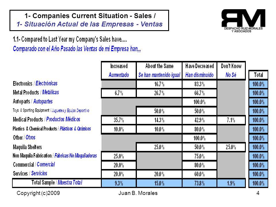 Copyright (c)2009Juan B. Morales4 22/70% Empresas tienen una meta establecida y cuantificada.
