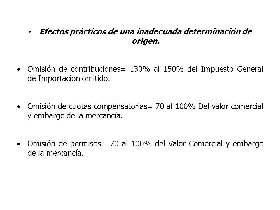Efectos prácticos de una inadecuada determinación de origen. Omisión de contribuciones= 130% al 150% del Impuesto General de Importación omitido. Omis