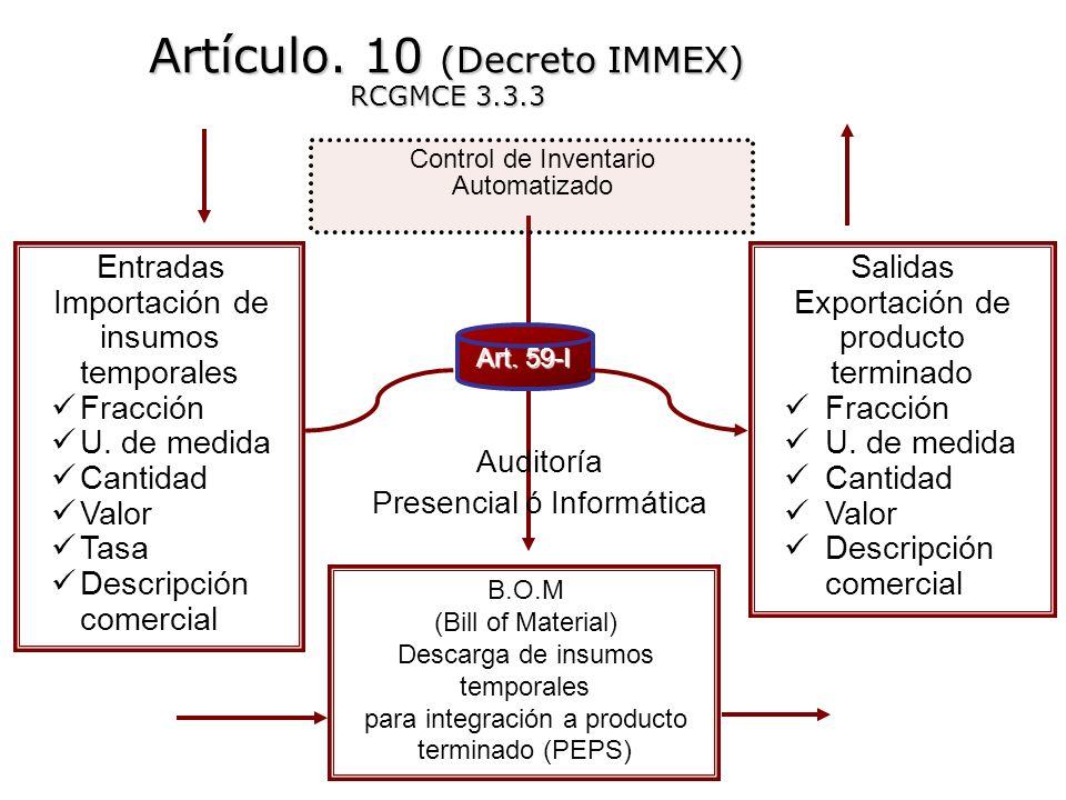 Entradas Importación de insumos temporales Fracción U. de medida Cantidad Valor Tasa Descripción comercial Control de Inventario Automatizado B.O.M (B