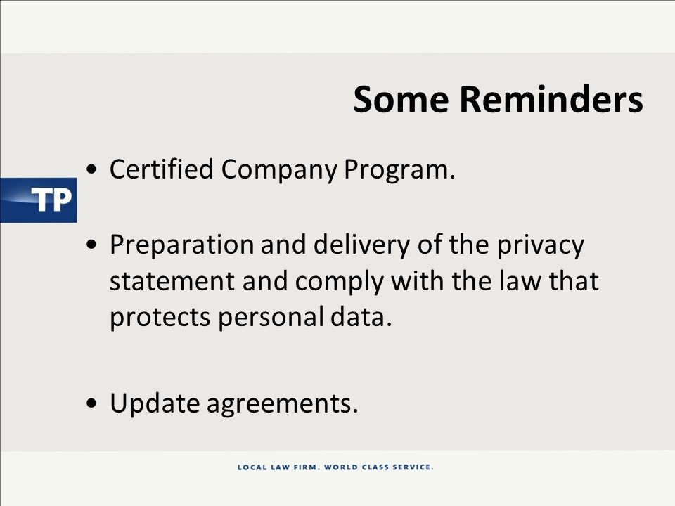 Some Reminders Certified Company Program.