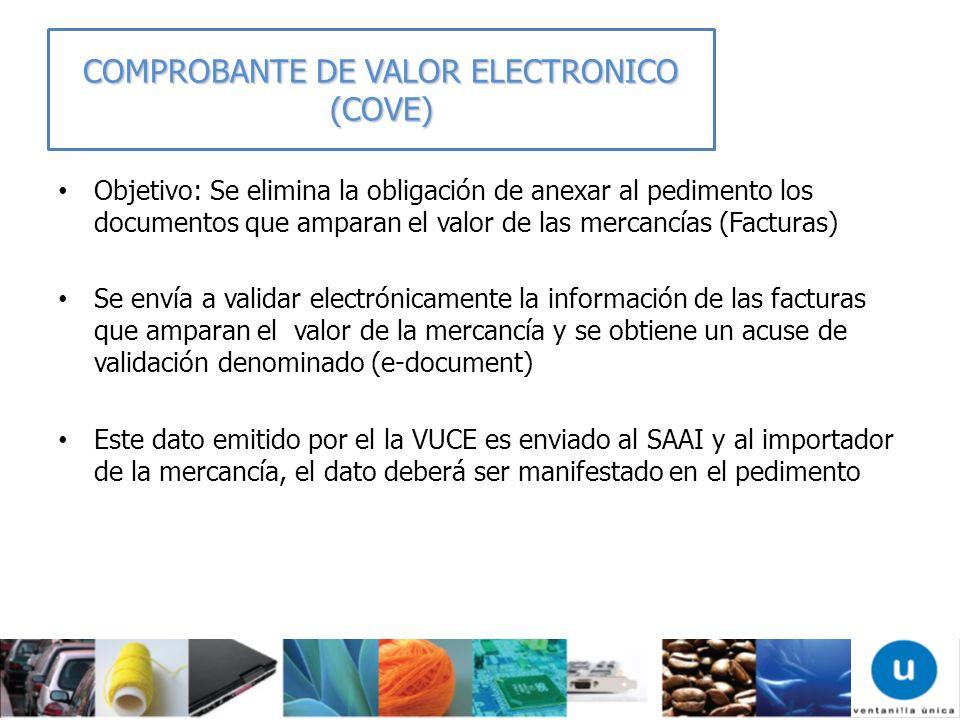 Objetivo: Se elimina la obligación de anexar al pedimento los documentos que amparan el valor de las mercancías (Facturas) Se envía a validar electrón