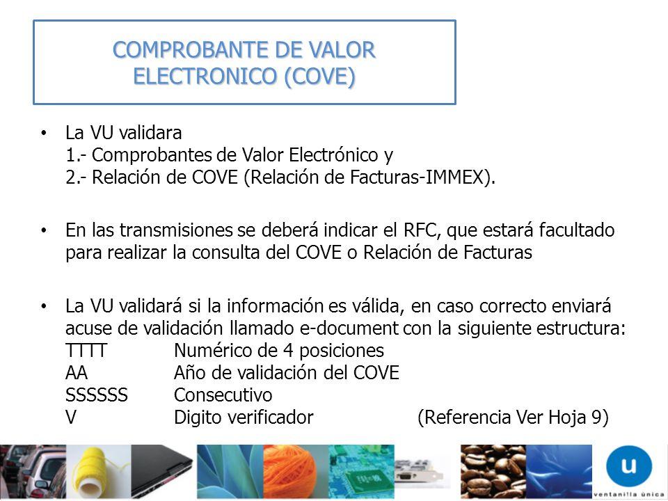 La VU validara 1.- Comprobantes de Valor Electrónico y 2.- Relación de COVE (Relación de Facturas-IMMEX). En las transmisiones se deberá indicar el RF